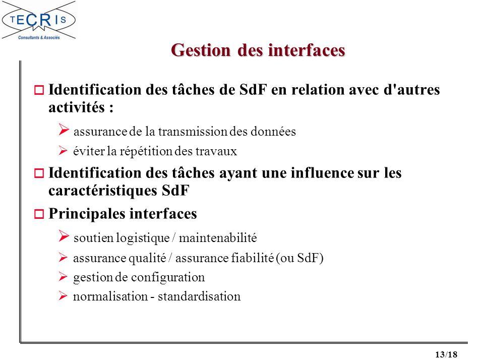 13/18 o Identification des tâches de SdF en relation avec d'autres activités : assurance de la transmission des données éviter la répétition des trava