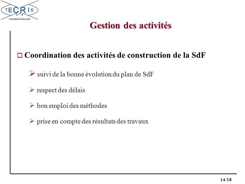 14/18 o Coordination des activités de construction de la SdF suivi de la bonne évolution du plan de SdF respect des délais bon emploi des méthodes pri