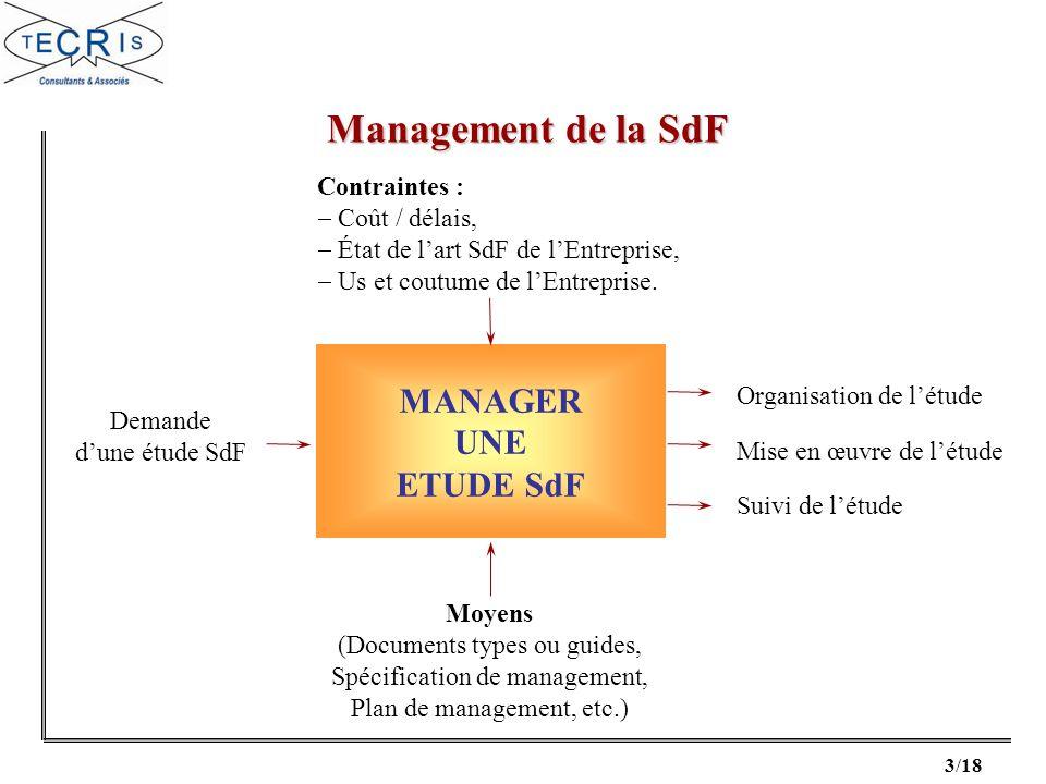 3/18 MANAGER UNE ETUDE SdF Demande dune étude SdF Contraintes : Coût / délais, État de lart SdF de lEntreprise, Us et coutume de lEntreprise. Organisa