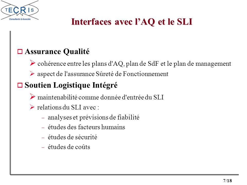 7/18 o Assurance Qualité cohérence entre les plans d'AQ, plan de SdF et le plan de management aspect de l'assurance Sûreté de Fonctionnement o Soutien