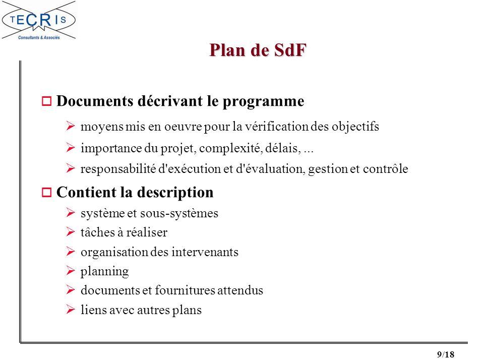 9/18 o Documents décrivant le programme moyens mis en oeuvre pour la vérification des objectifs importance du projet, complexité, délais,... responsab