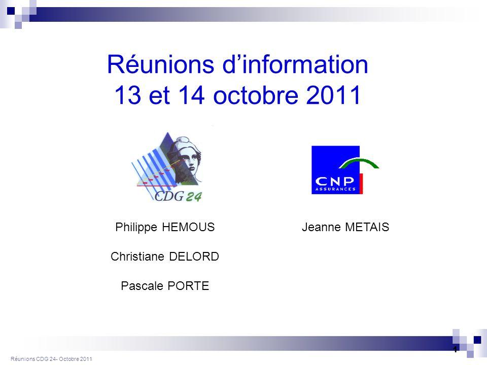 Réunions CDG 24- Octobre 2011 1 Réunions dinformation 13 et 14 octobre 2011 Centre de Gestion de la Gironde (33) Jeanne METAISPhilippe HEMOUS Christiane DELORD Pascale PORTE