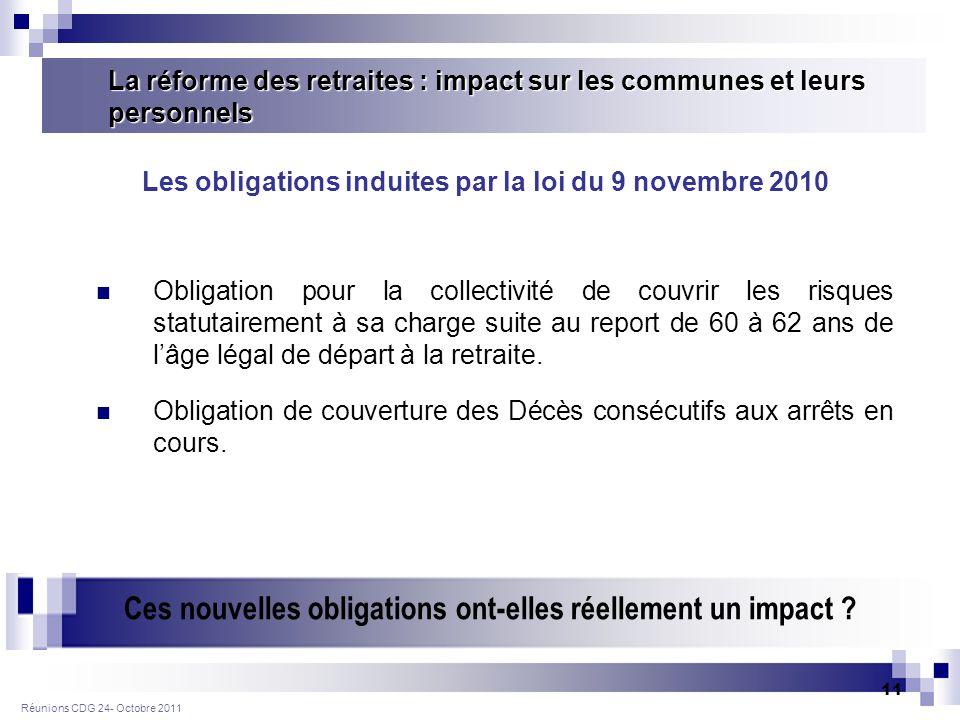 Réunions CDG 24- Octobre 2011 11 Obligation pour la collectivité de couvrir les risques statutairement à sa charge suite au report de 60 à 62 ans de lâge légal de départ à la retraite.