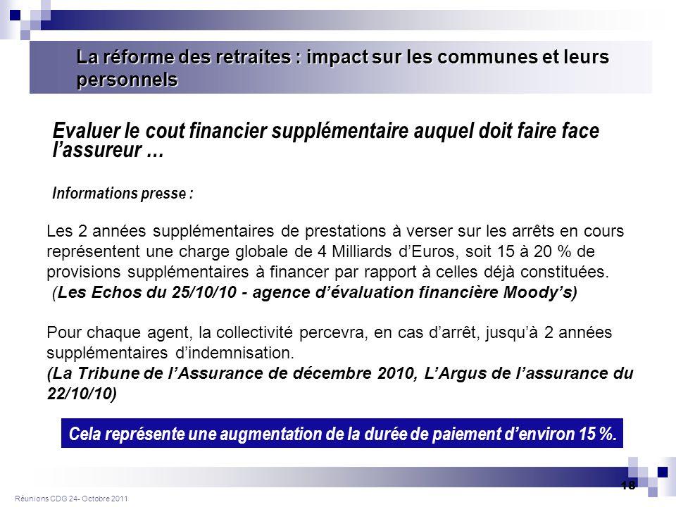 Réunions CDG 24- Octobre 2011 18 Les 2 années supplémentaires de prestations à verser sur les arrêts en cours représentent une charge globale de 4 Milliards dEuros, soit 15 à 20 % de provisions supplémentaires à financer par rapport à celles déjà constituées.