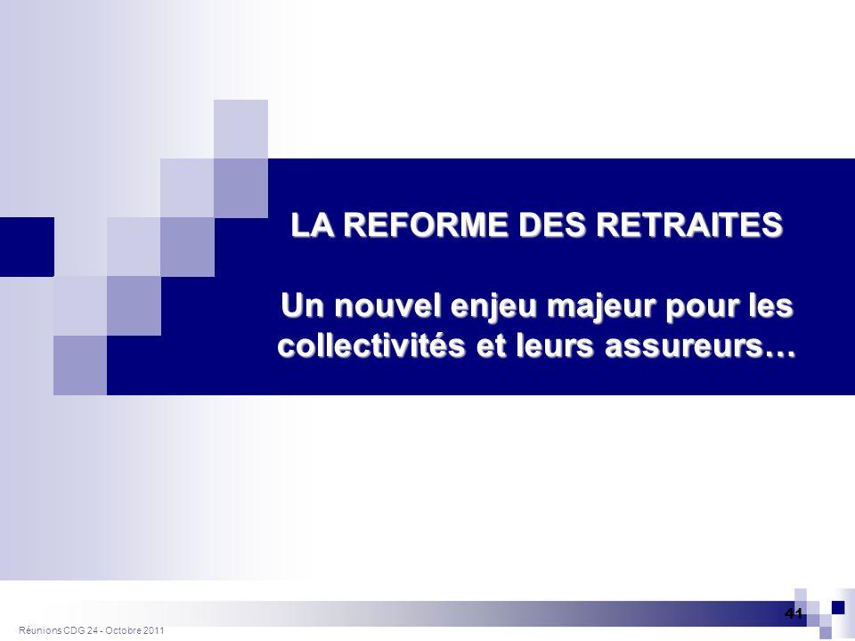 Réunions CDG 24 - Octobre 2011 41 LA REFORME DES RETRAITES Un nouvel enjeu majeur pour les collectivités et leurs assureurs…