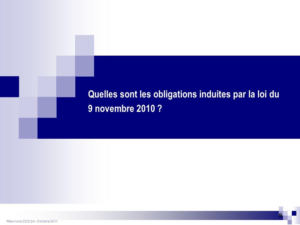 Réunions CDG 24- Octobre 2011 10 La réforme des retraites : impact sur les communes et leurs personnels Relèvement de deux ans de lâge de départ à la retraite (60 à 62 ans, 65 à 67ans).