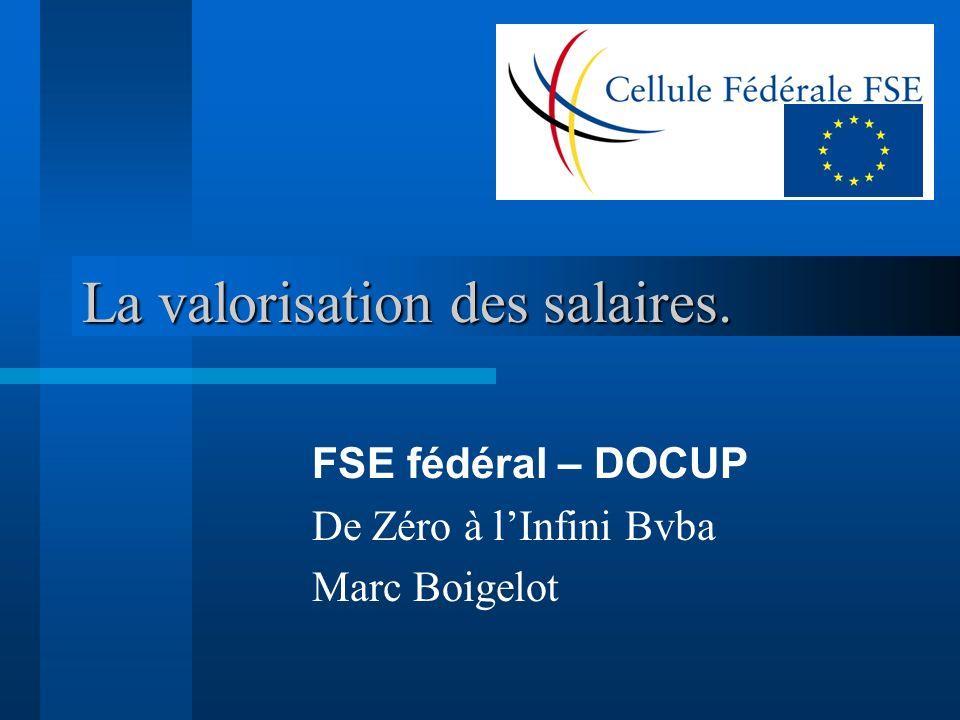 La valorisation des salaires. FSE fédéral – DOCUP De Zéro à lInfini Bvba Marc Boigelot