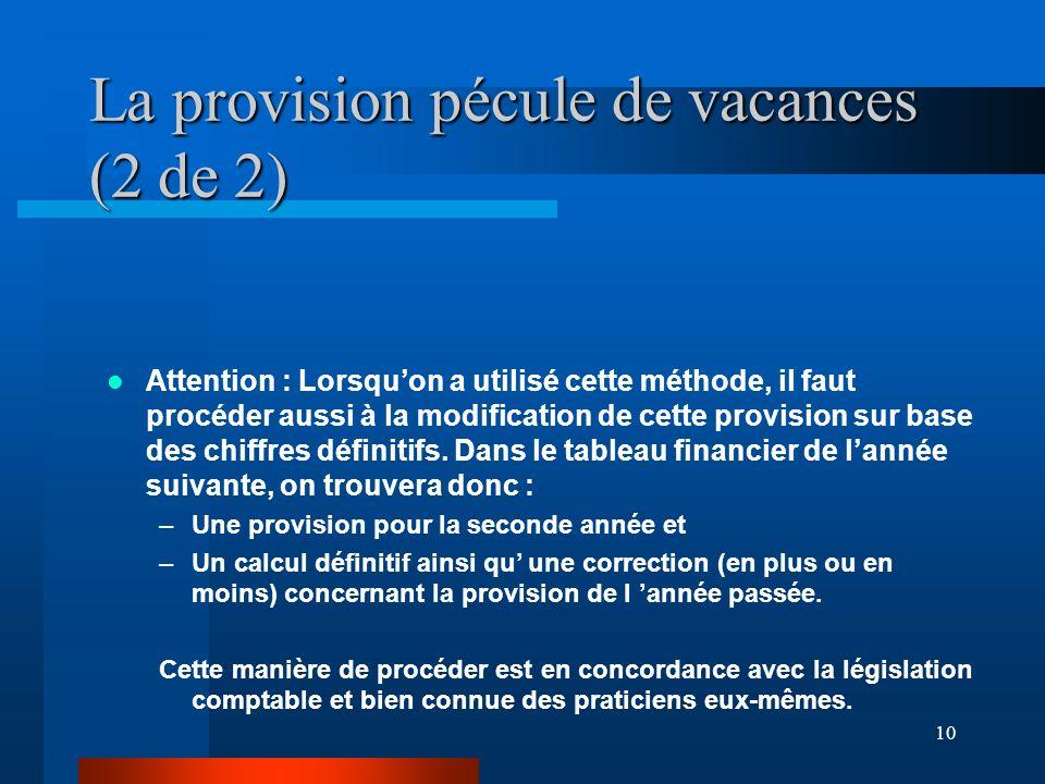 10 La provision pécule de vacances (2 de 2) Attention : Lorsquon a utilisé cette méthode, il faut procéder aussi à la modification de cette provision sur base des chiffres définitifs.