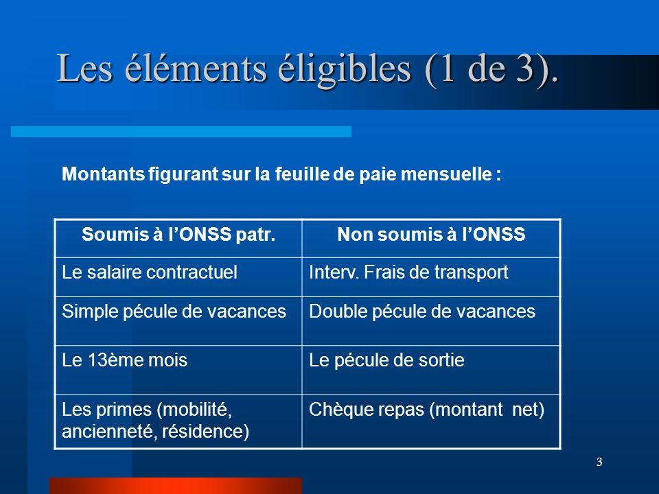 3 Les éléments éligibles (1 de 3).