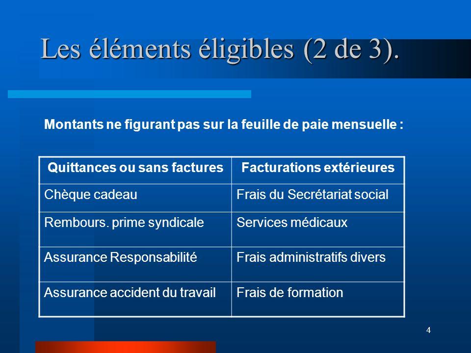 4 Les éléments éligibles (2 de 3).