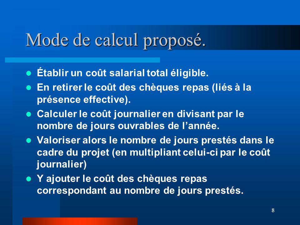 8 Mode de calcul proposé. Établir un coût salarial total éligible.