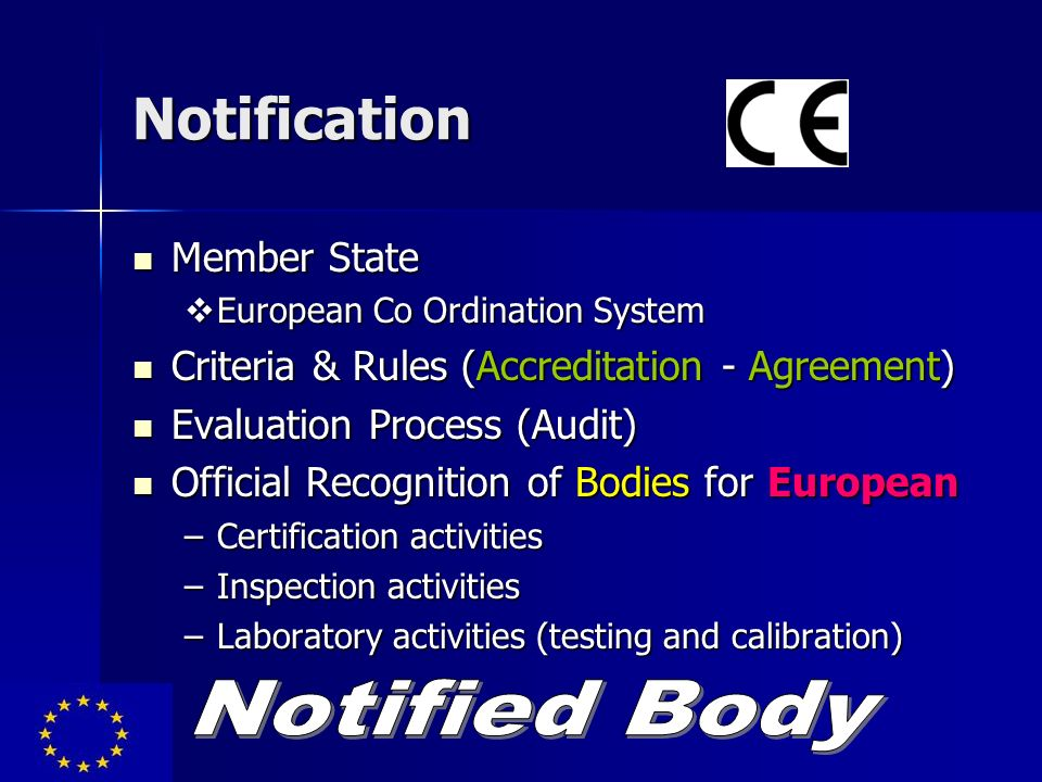 Notification Member State Member State European Co Ordination System European Co Ordination System Criteria & Rules (Accreditation - Agreement) Criter