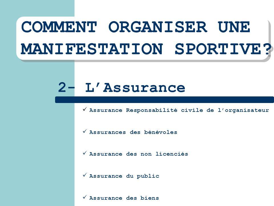 COMMENT ORGANISER UNE MANIFESTATION SPORTIVE? COMMENT ORGANISER UNE MANIFESTATION SPORTIVE? 2- LAssurance Assurance Responsabilité civile de lorganisa