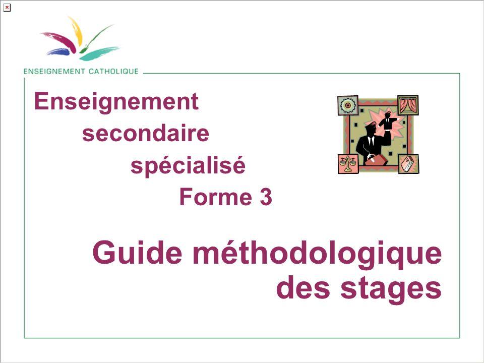 Enseignement secondaire spécialisé Forme 3 Guide méthodologique des stages