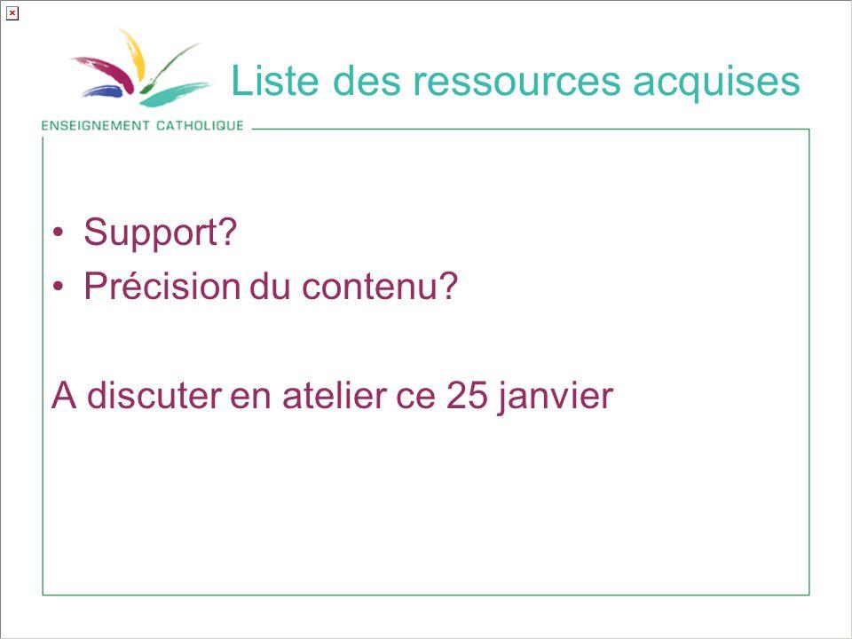 Liste des ressources acquises Support? Précision du contenu? A discuter en atelier ce 25 janvier