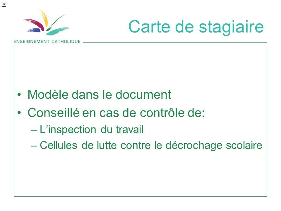 Carte de stagiaire Modèle dans le document Conseillé en cas de contrôle de: –Linspection du travail –Cellules de lutte contre le décrochage scolaire