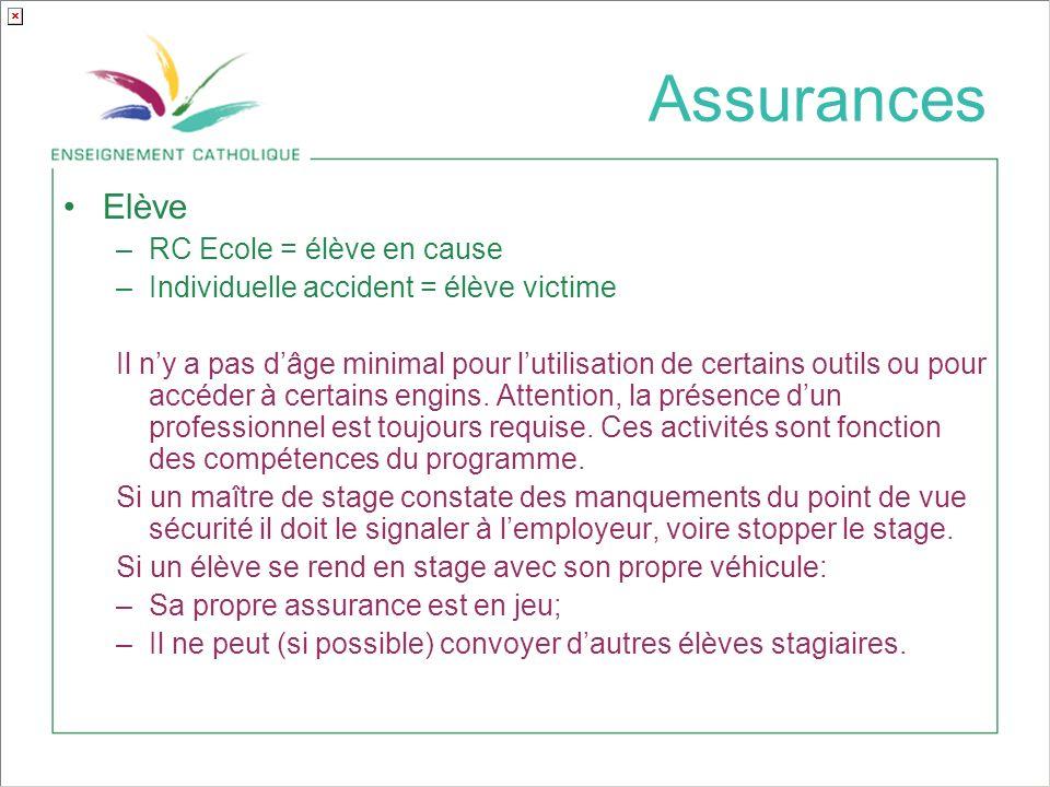 Assurances Elève –RC Ecole = élève en cause –Individuelle accident = élève victime Il ny a pas dâge minimal pour lutilisation de certains outils ou pour accéder à certains engins.