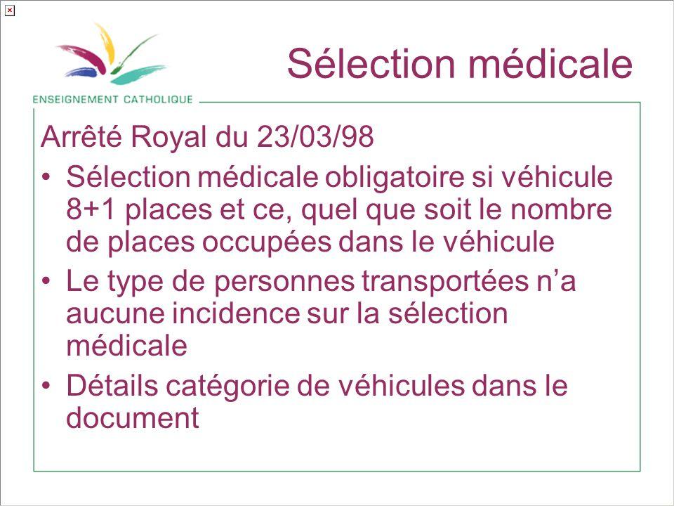 Sélection médicale Arrêté Royal du 23/03/98 Sélection médicale obligatoire si véhicule 8+1 places et ce, quel que soit le nombre de places occupées dans le véhicule Le type de personnes transportées na aucune incidence sur la sélection médicale Détails catégorie de véhicules dans le document
