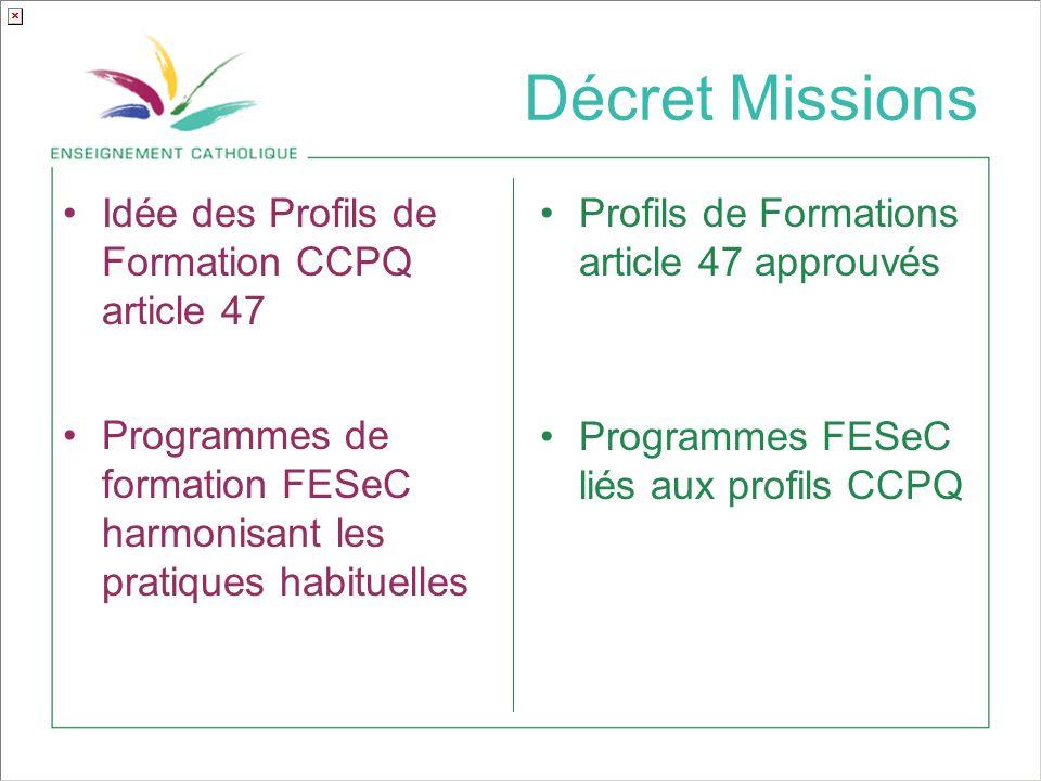 Décret Missions Idée des Profils de Formation CCPQ article 47 Programmes de formation FESeC harmonisant les pratiques habituelles Profils de Formations article 47 approuvés Programmes FESeC liés aux profils CCPQ