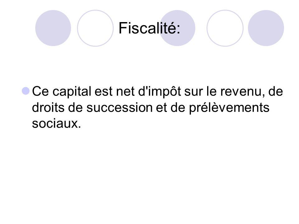 Fiscalité: Ce capital est net d'impôt sur le revenu, de droits de succession et de prélèvements sociaux.