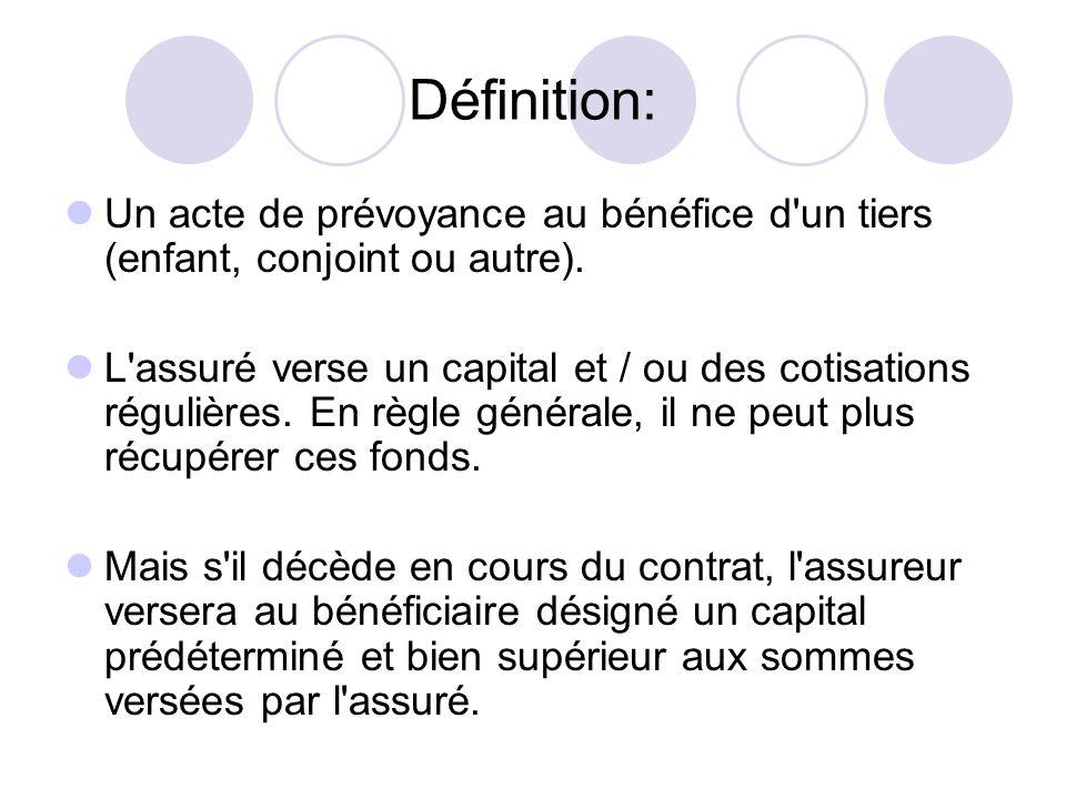 Définition: Un acte de prévoyance au bénéfice d'un tiers (enfant, conjoint ou autre). L'assuré verse un capital et / ou des cotisations régulières. En