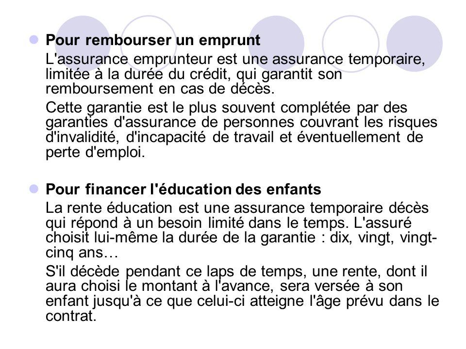 Pour rembourser un emprunt L assurance emprunteur est une assurance temporaire, limitée à la durée du crédit, qui garantit son remboursement en cas de décès.