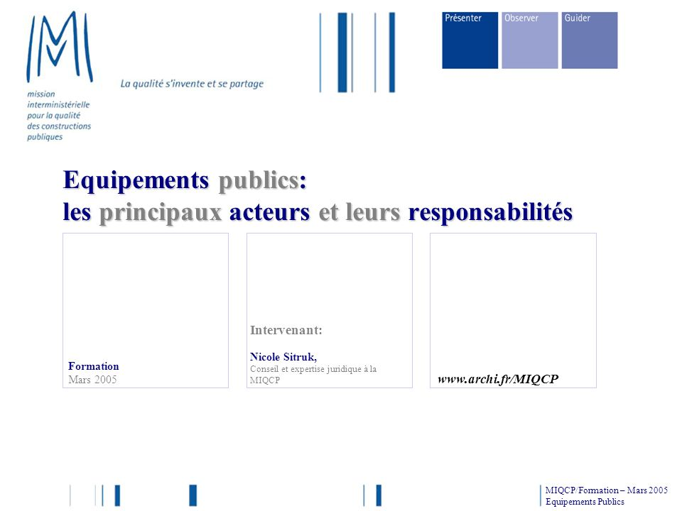 Formation Mars 2005 Intervenant: Nicole Sitruk, Conseil et expertise juridique à la MIQCP Equipements publics: les principaux acteurs et leurs respons