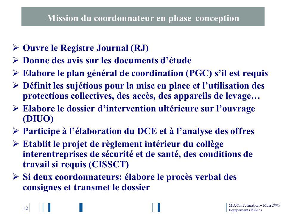 Ouvre le Registre Journal (RJ) Donne des avis sur les documents détude Elabore le plan général de coordination (PGC) sil est requis Définit les sujéti