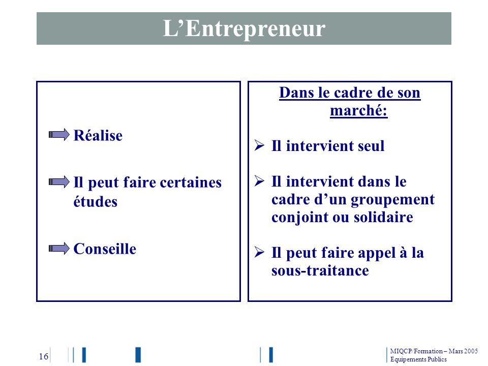LEntrepreneur Réalise Il peut faire certaines études Conseille Dans le cadre de son marché: Il intervient seul Il intervient dans le cadre dun groupem