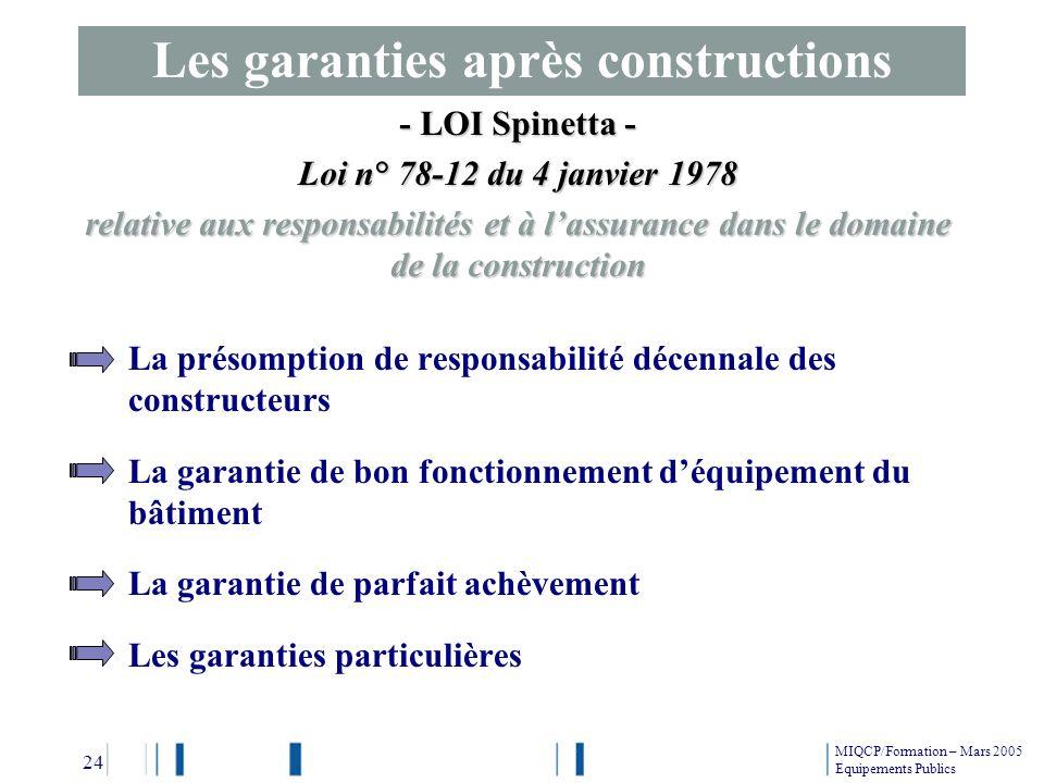 La présomption de responsabilité décennale des constructeurs La garantie de bon fonctionnement déquipement du bâtiment La garantie de parfait achèveme