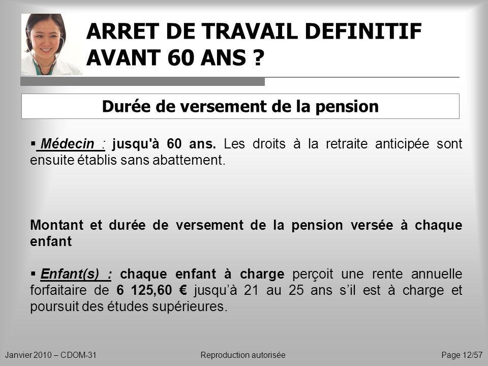 ARRET DE TRAVAIL DEFINITIF AVANT 60 ANS ? Janvier 2010 – CDOM-31Reproduction autorisée Page 12/57 Médecin : jusqu'à 60 ans. Les droits à la retraite a