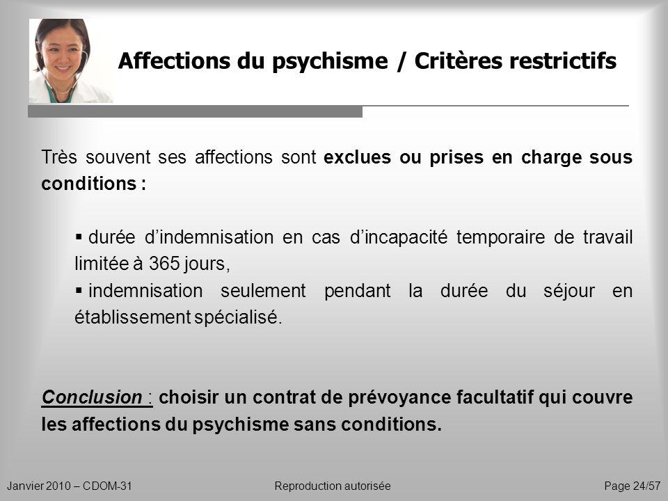 Affections du psychisme / Critères restrictifs Janvier 2010 – CDOM-31Reproduction autorisée Page 24/57 Très souvent ses affections sont exclues ou pri