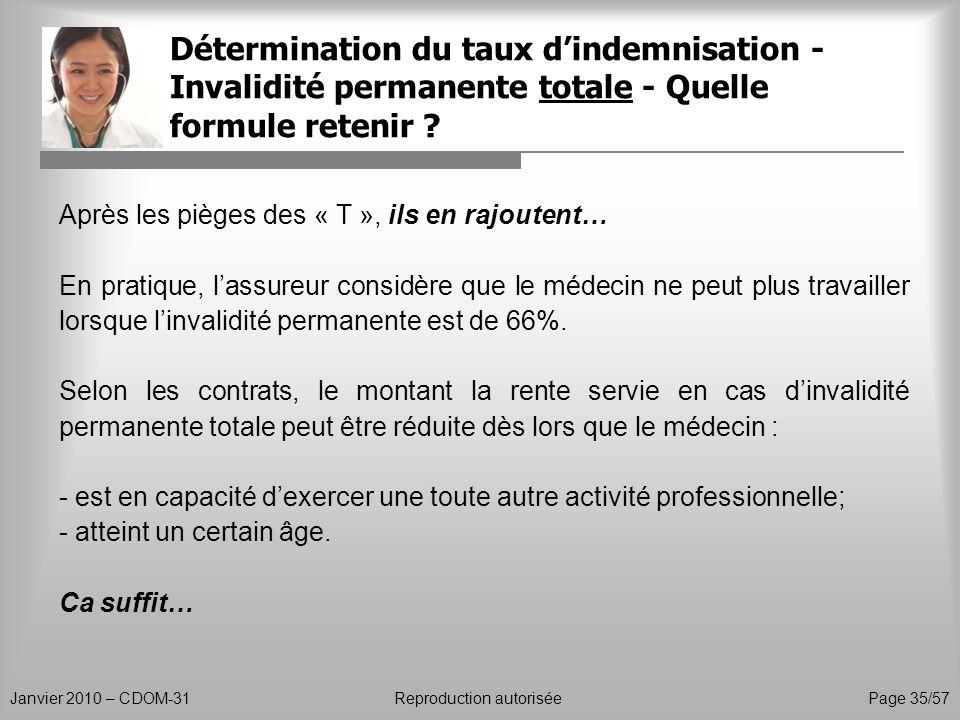 Détermination du taux dindemnisation - Invalidité permanente totale - Quelle formule retenir ? Janvier 2010 – CDOM-31Reproduction autorisée Page 35/57