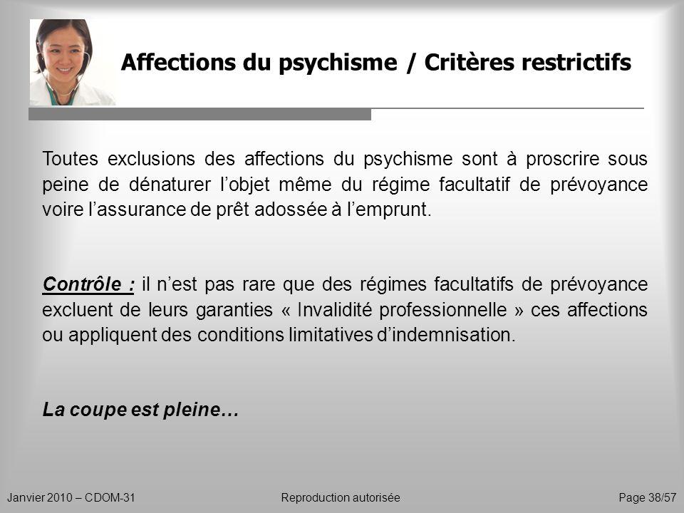 Affections du psychisme / Critères restrictifs Janvier 2010 – CDOM-31Reproduction autorisée Page 38/57 Toutes exclusions des affections du psychisme s