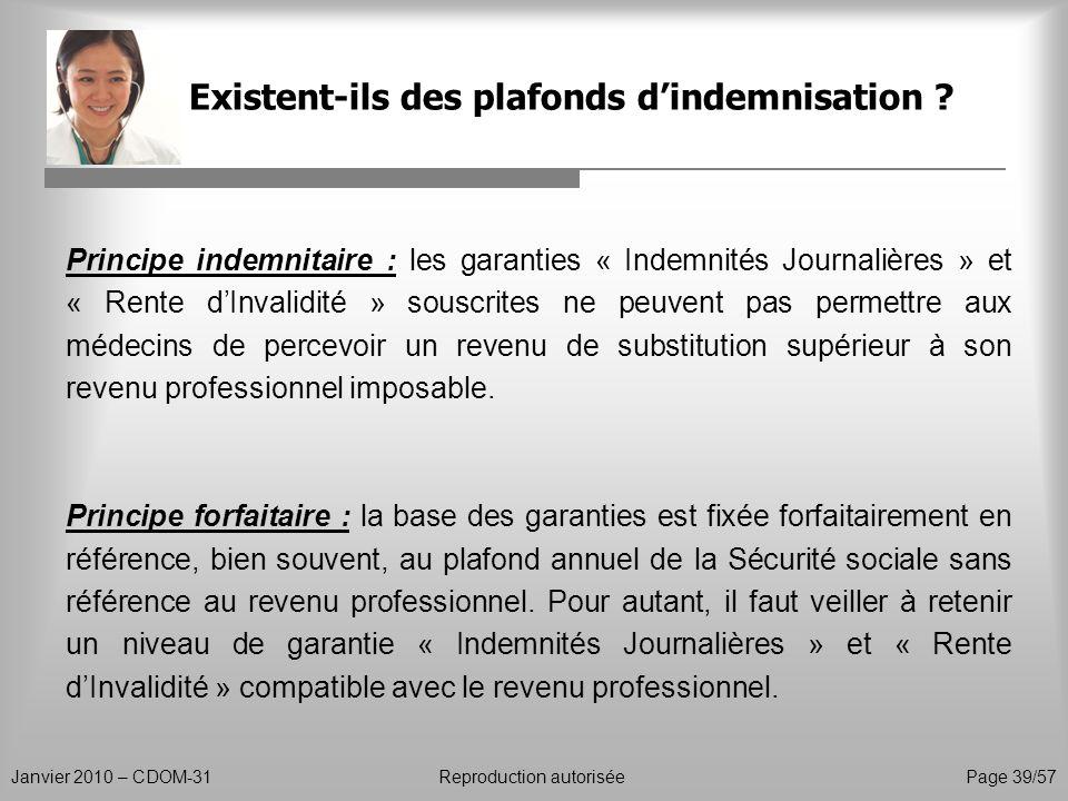Existent-ils des plafonds dindemnisation ? Janvier 2010 – CDOM-31Reproduction autorisée Page 39/57 Principe indemnitaire : les garanties « Indemnités