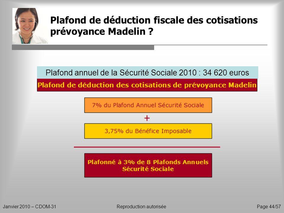 Plafond de déduction fiscale des cotisations prévoyance Madelin ? Janvier 2010 – CDOM-31Reproduction autorisée Page 44/57 Plafond annuel de la Sécurit