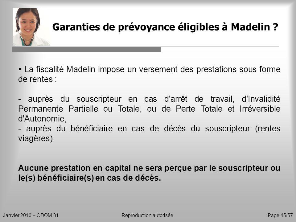Garanties de prévoyance éligibles à Madelin ? Janvier 2010 – CDOM-31Reproduction autorisée Page 45/57 La fiscalité Madelin impose un versement des pre