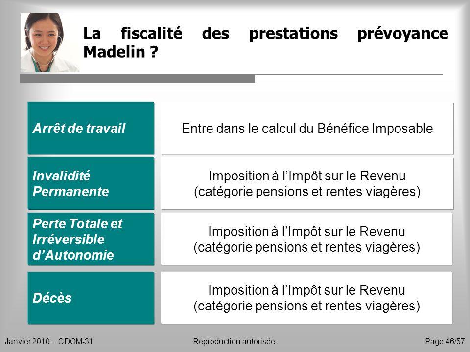 La fiscalité des prestations prévoyance Madelin ? Janvier 2010 – CDOM-31Reproduction autorisée Page 46/57 Arrêt de travail Invalidité Permanente Entre