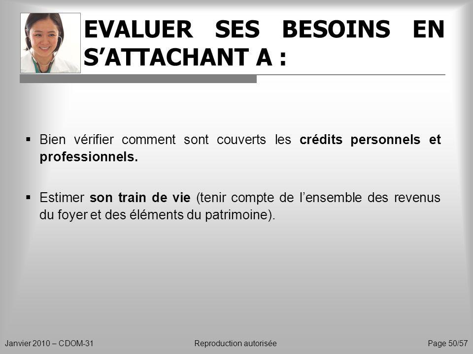 EVALUER SES BESOINS EN SATTACHANT A : Janvier 2010 – CDOM-31Reproduction autorisée Page 50/57 Bien vérifier comment sont couverts les crédits personne