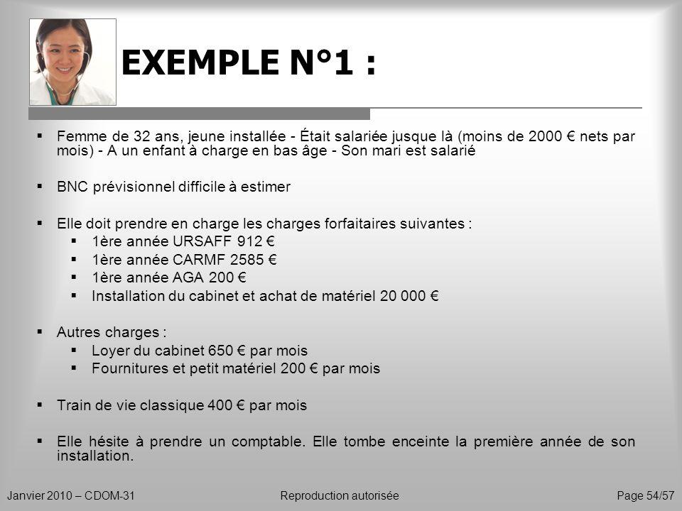 EXEMPLE N°1 : Janvier 2010 – CDOM-31Reproduction autorisée Page 54/57 Femme de 32 ans, jeune installée - Était salariée jusque là (moins de 2000 nets