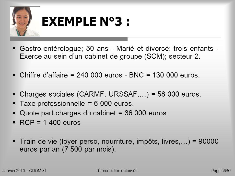 EXEMPLE N°3 : Janvier 2010 – CDOM-31Reproduction autorisée Page 56/57 Gastro-entérologue; 50 ans - Marié et divorcé; trois enfants - Exerce au sein du