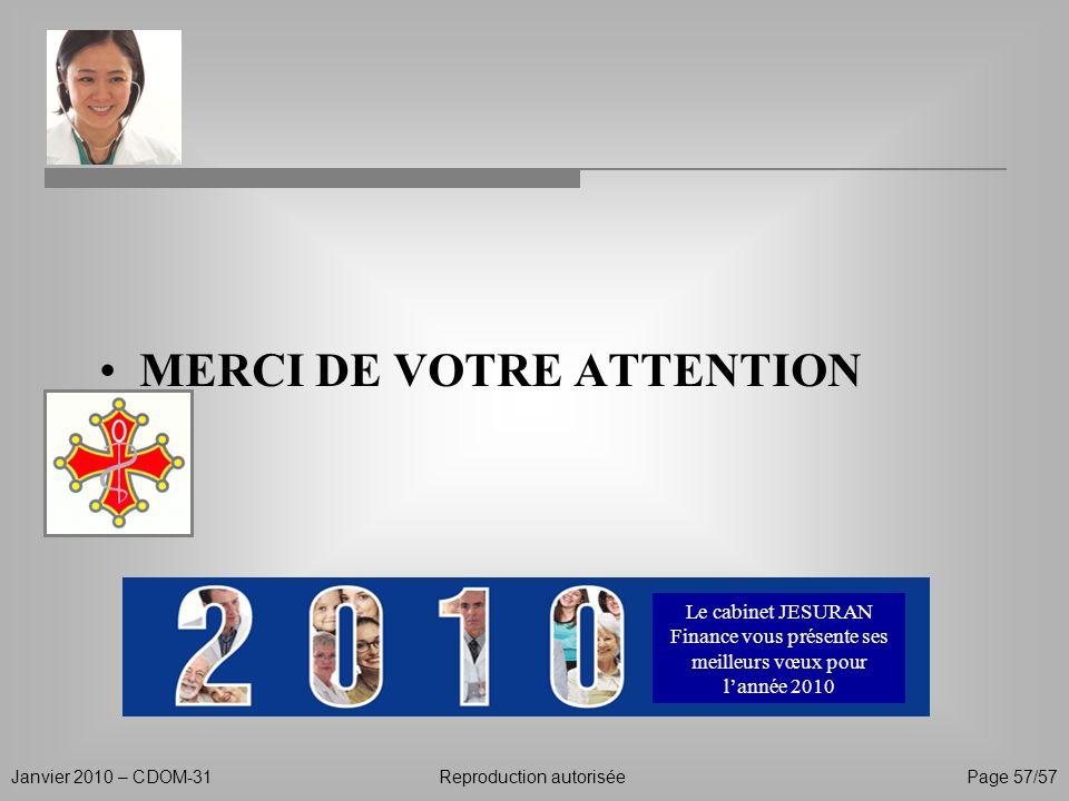 Janvier 2010 – CDOM-31Reproduction autorisée Page 57/57 Le cabinet JESURAN Finance vous présente ses meilleurs vœux pour lannée 2010 MERCI DE VOTRE AT