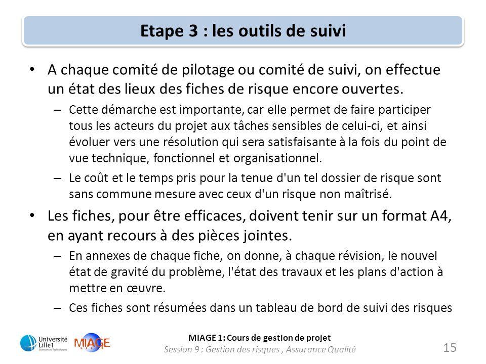 MIAGE 1: Cours de gestion de projet Session 9 : Gestion des risques, Assurance Qualité Etape 3 : les outils de suivi A chaque comité de pilotage ou co