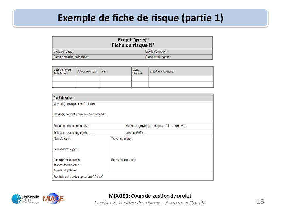MIAGE 1: Cours de gestion de projet Session 9 : Gestion des risques, Assurance Qualité Exemple de fiche de risque (partie 1) 16