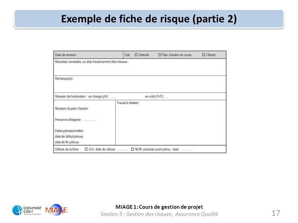 MIAGE 1: Cours de gestion de projet Session 9 : Gestion des risques, Assurance Qualité Exemple de fiche de risque (partie 2) 17