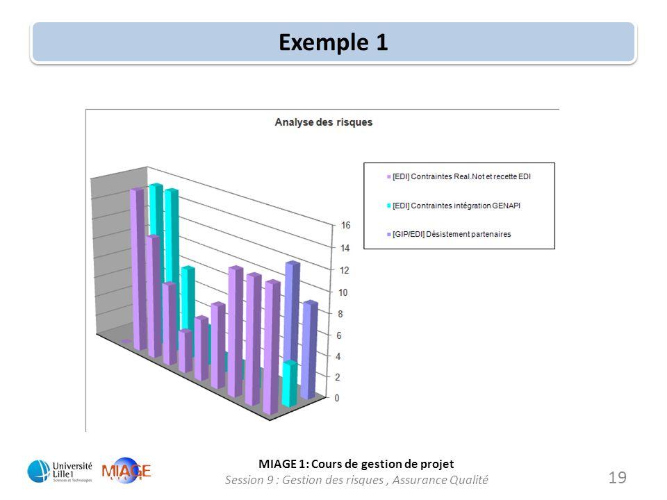 MIAGE 1: Cours de gestion de projet Session 9 : Gestion des risques, Assurance Qualité Exemple 1 19