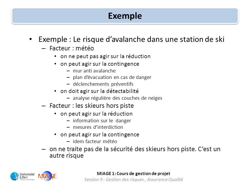 MIAGE 1: Cours de gestion de projet Session 9 : Gestion des risques, Assurance Qualité Exemple Exemple : Le risque davalanche dans une station de ski