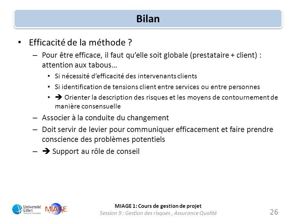 MIAGE 1: Cours de gestion de projet Session 9 : Gestion des risques, Assurance Qualité Bilan Efficacité de la méthode ? – Pour être efficace, il faut