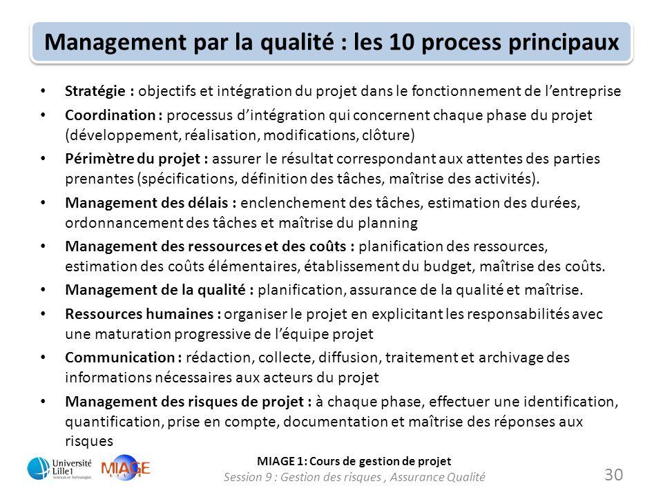 MIAGE 1: Cours de gestion de projet Session 9 : Gestion des risques, Assurance Qualité Management par la qualité : les 10 process principaux Stratégie