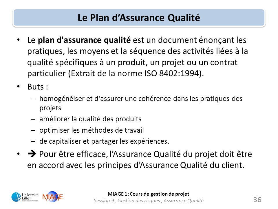 MIAGE 1: Cours de gestion de projet Session 9 : Gestion des risques, Assurance Qualité Le Plan dAssurance Qualité Le plan d'assurance qualité est un d